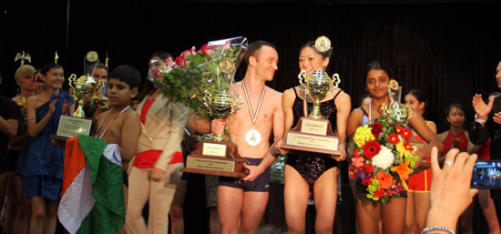 Gloria Suen and Juan Manuel Martin-Busutil at the 2012 Yoga Asana Championship