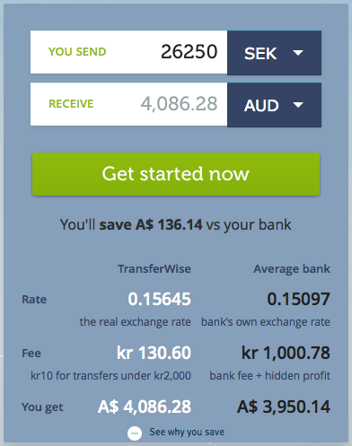 TransferWise transaction example
